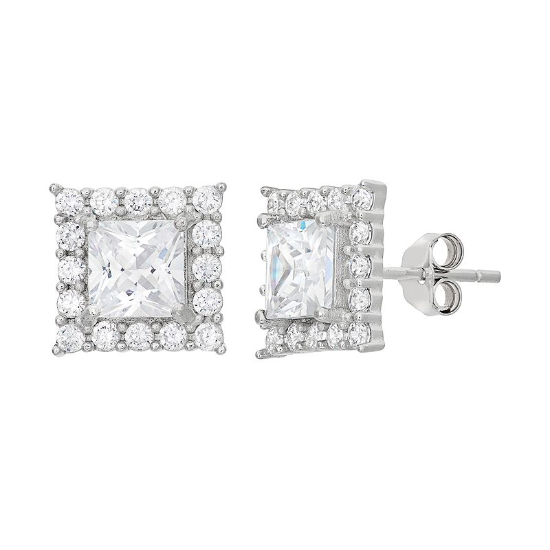 Cubic Zirconia Sterling Silver Square Halo Stud Earrings