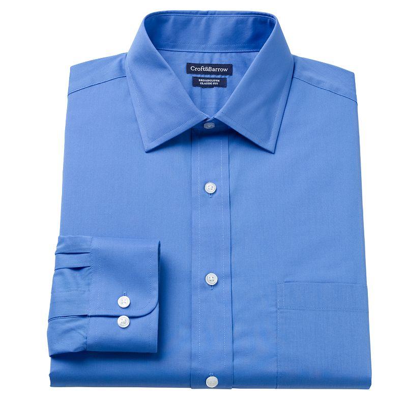 Men's Croft & Barrow® Fitted Solid Spread-Collar Dress Shirt
