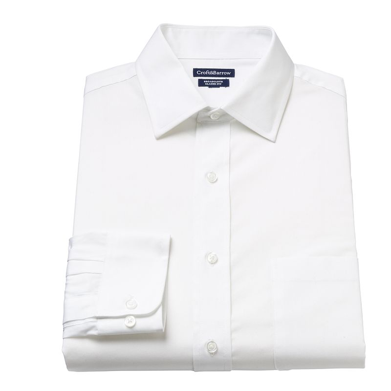 Men's Croft & Barrow® Fitted Solid Spread-Collar Dress Shirt