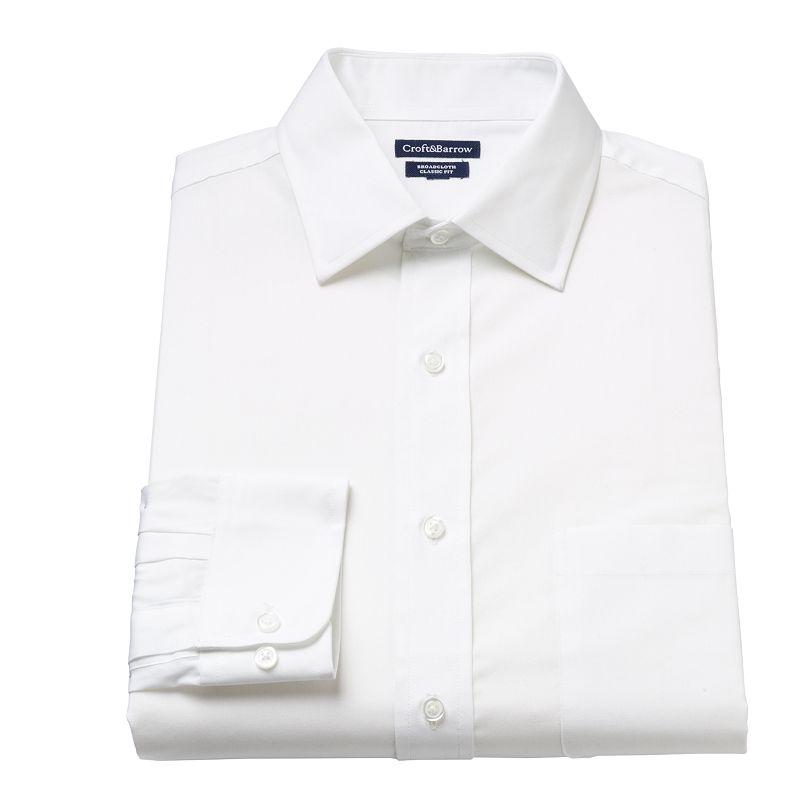 Men's Croft & Barrow® Slim-Fit Solid Spread-Collar Dress Shirt