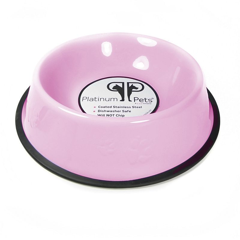 Platinum Pets 7-Cup Stainless Steel Embossed No-Tip Dog Bowl