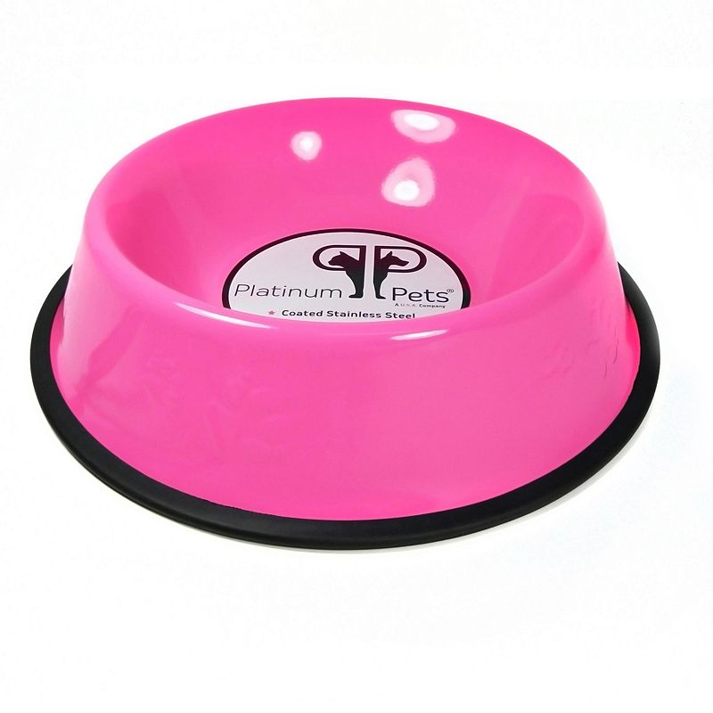 Platinum Pets 1-Cup Stainless Steel Embossed No-Tip Puppy Dog Bowl
