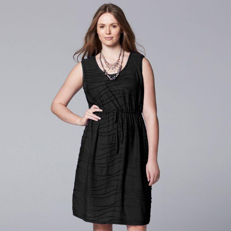 Plus Size Simply Vera Vera Wang Windy Jacquard Dress Set, Women's, Size: 0X, Black