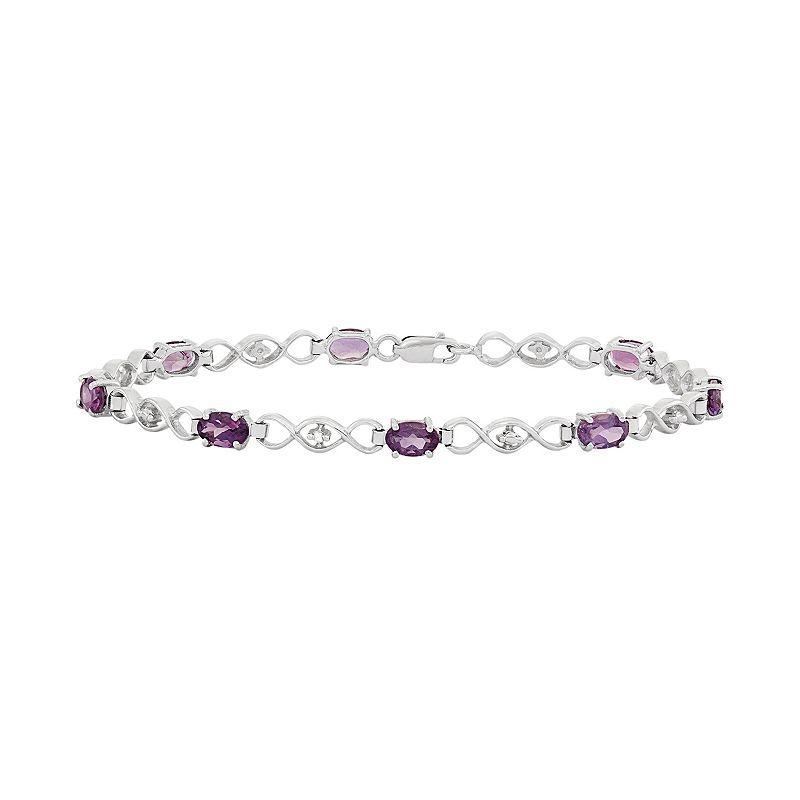 Amethyst & Diamond Accent Sterling Silver Station Bracelet