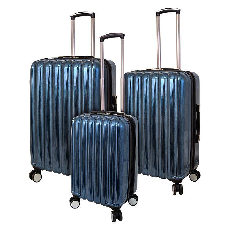 Travelers Club 3-Piece Metallic Hardside Spinner Luggage Set