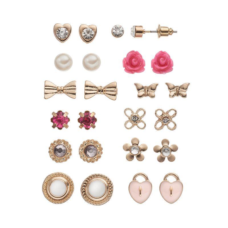 SO® Flower, Butterfly, Heart Lock & Bow Stud Earring Set