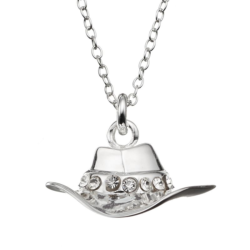 Crystal Sterling Silver Cowboy Hat Pendant Necklace