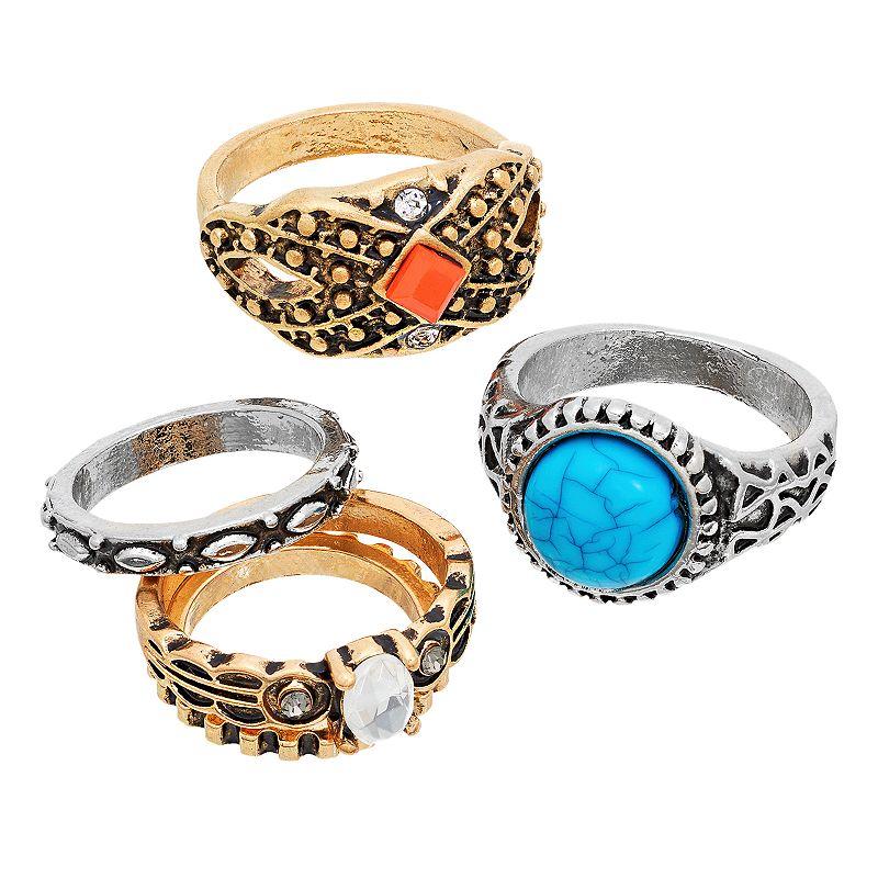 Mudd® Textured Ring Set