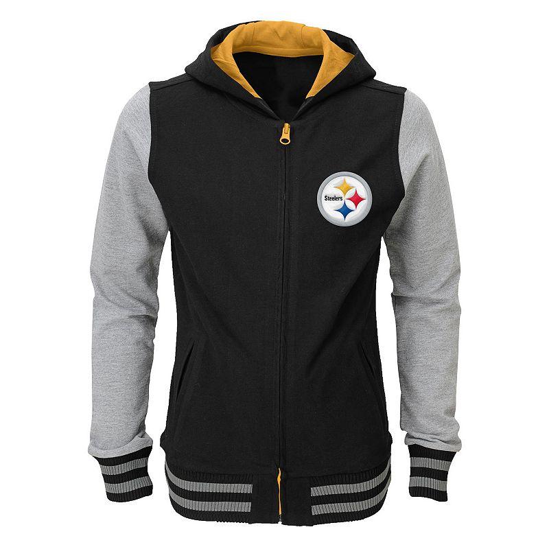 Girls 4-6x Pittsburgh Steelers Varsity Hoodie Jacket
