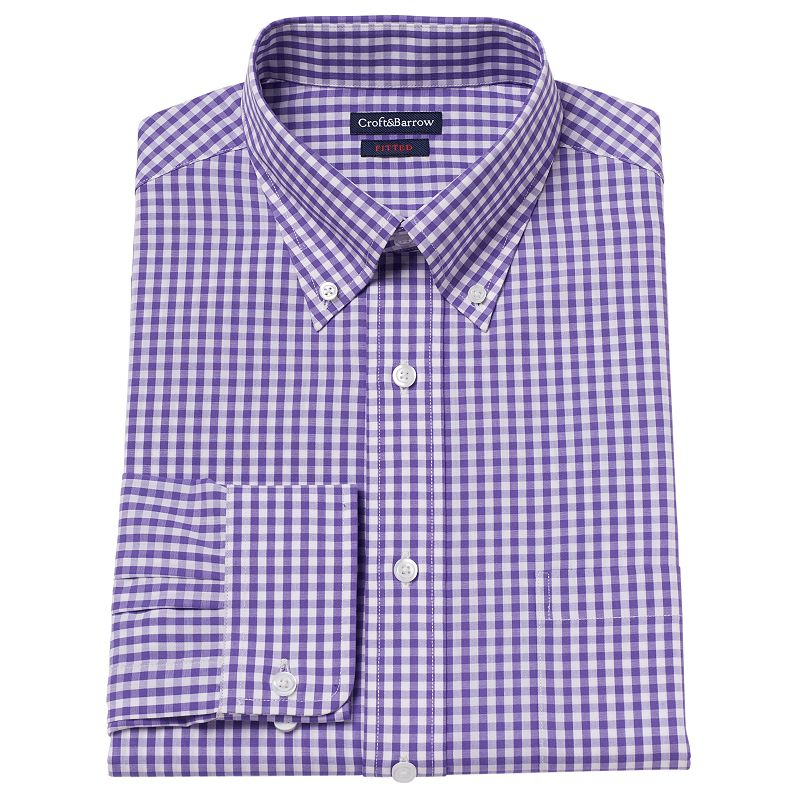 Men's Croft & Barrow® Classic-Fit Gingham-Checked Dress Shirt