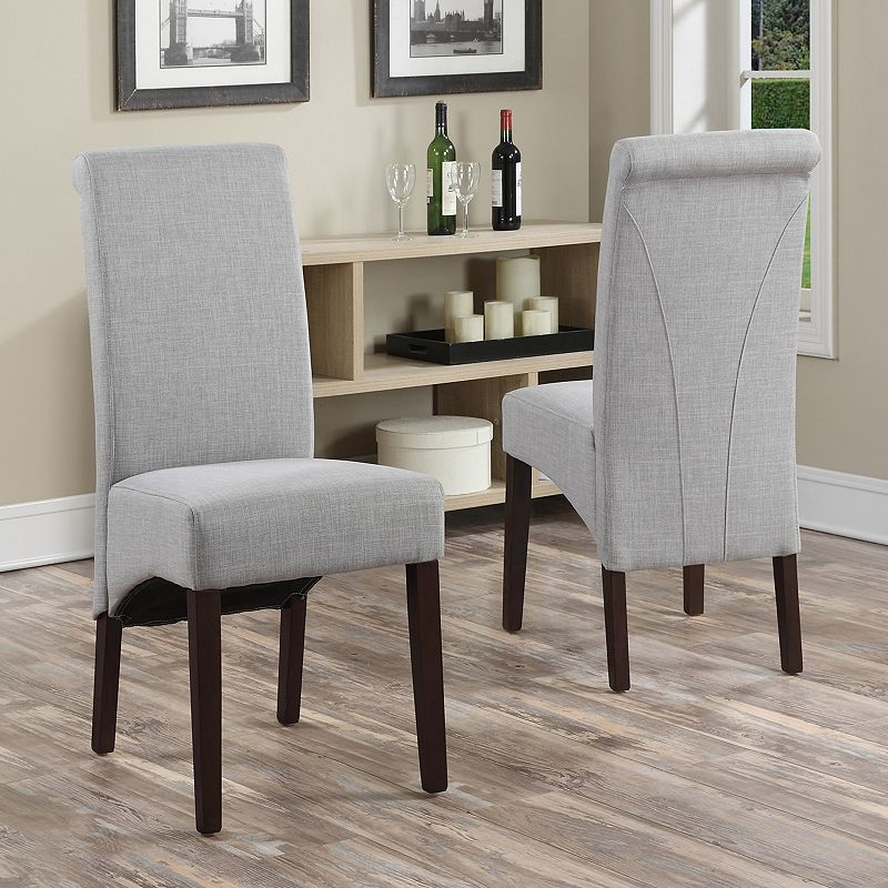 Simpli Home 2-piece Avalon Linen Deluxe Parson Chair Set