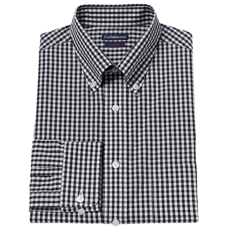 Men's Croft & Barrow® Fitted Gingham-Checked Dress Shirt