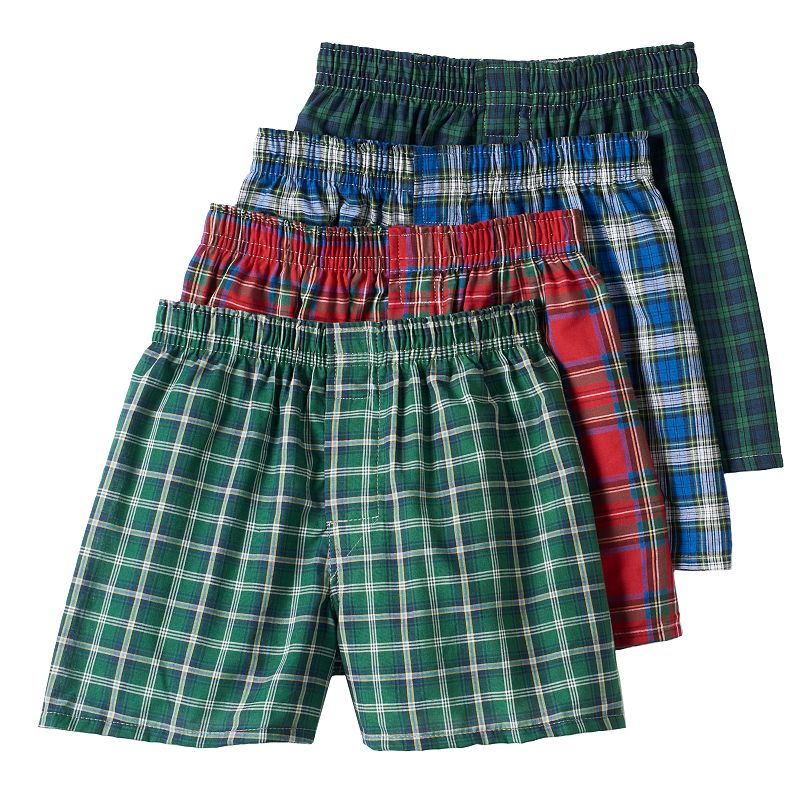 Boys Hanes Ultimate 4-pk. Tartan Plaid Boxers