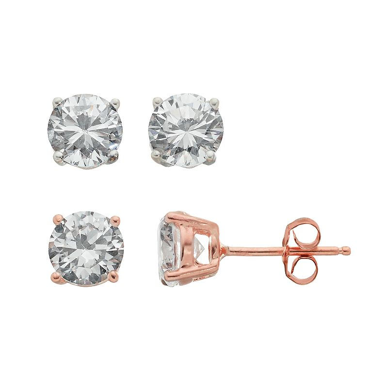 Cubic Zirconia 18k Rose Gold Over Silver Stud Earring Set