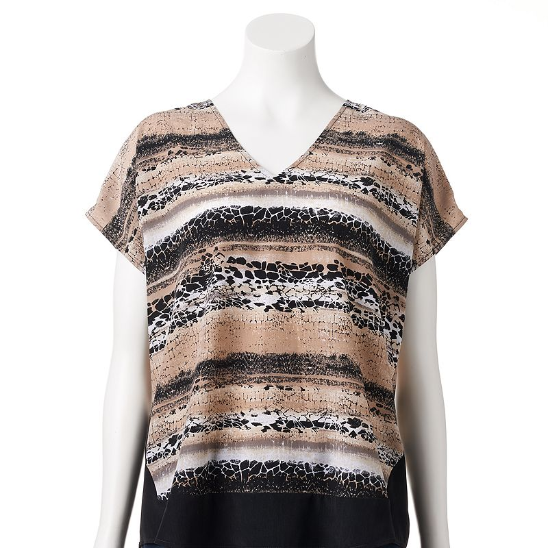 Dana Buchman Printed Colorblock V-Neck Top - Women's
