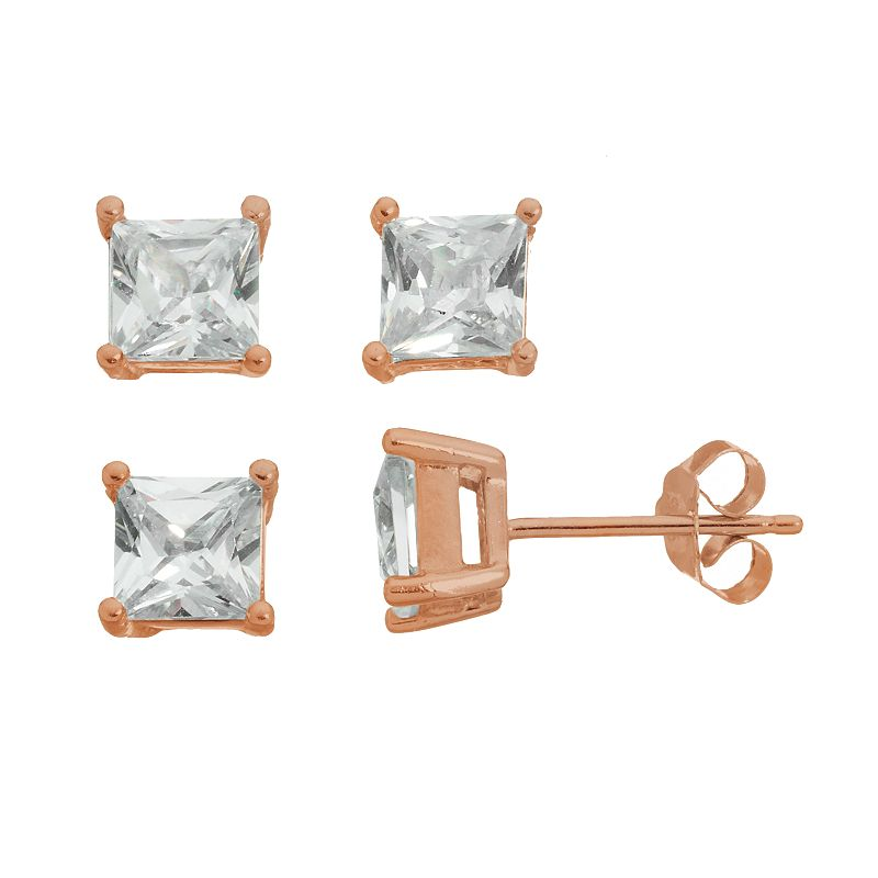 Cubic Zirconia 18k Rose Gold Over Silver Square Stud Earring Set