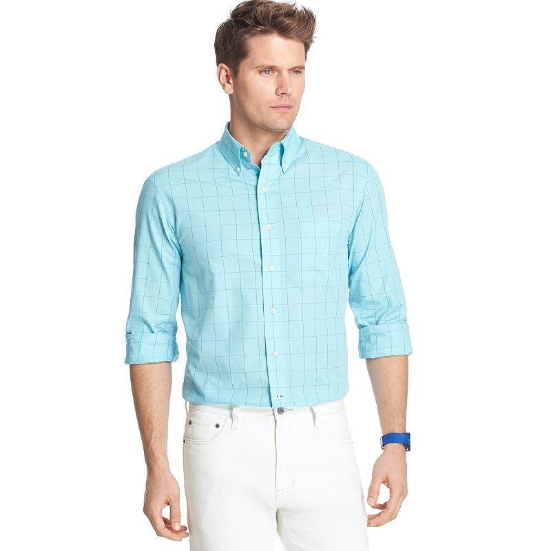 Men's IZOD Classic-Fit Poplin Windowpane Casual Button-Down Shirt