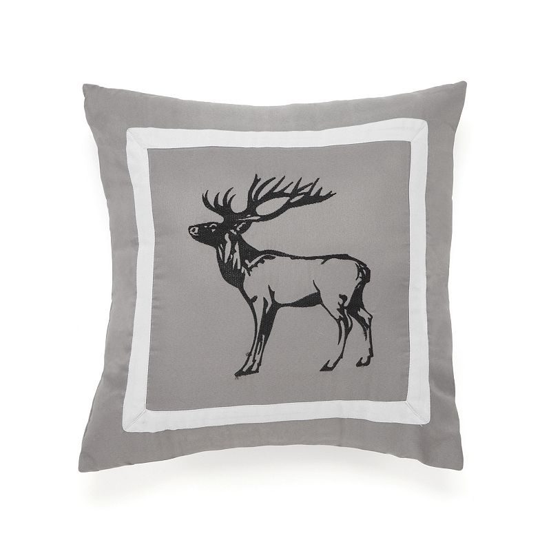 True Timber Snowfall Pine Embroidered Deer Throw Pillow