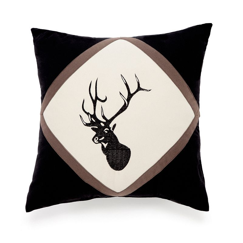 True Timber Pieced Stripe Embroidered Deer Throw Pillow