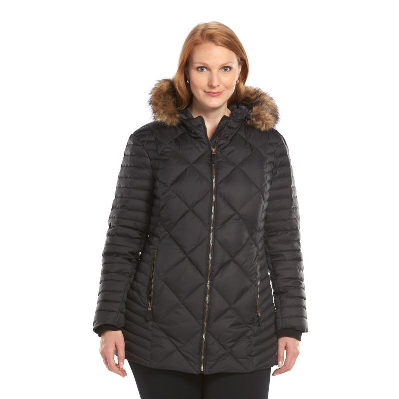Plus Size AM Studio by Andrew Marc Hooded Down Quilted Jacket, Women's, Size: 1X, Black