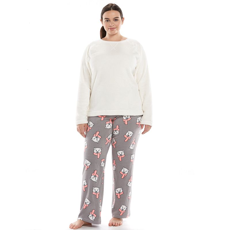 SO® Pajamas: Microfleece Top & Pants Pajama Gift Set - Junior's Plus Size