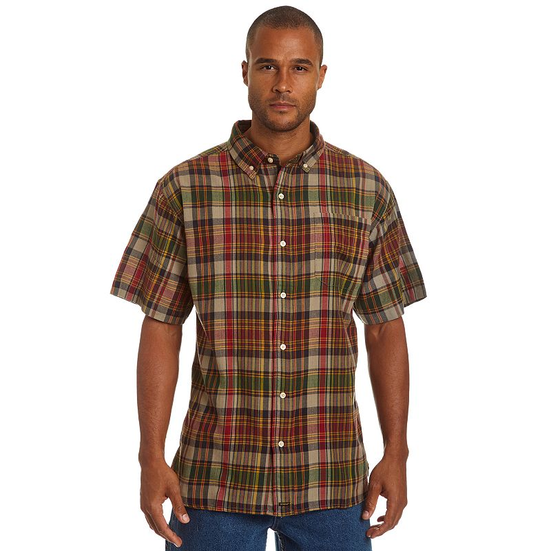 Men's Stanley Classic-Fit Madras Plaid Casual Button-Down Shirt