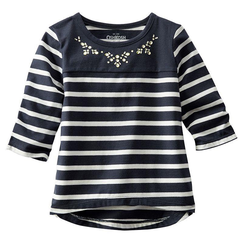 OshKosh B'gosh® Girls 4-8 Embellished Striped Top