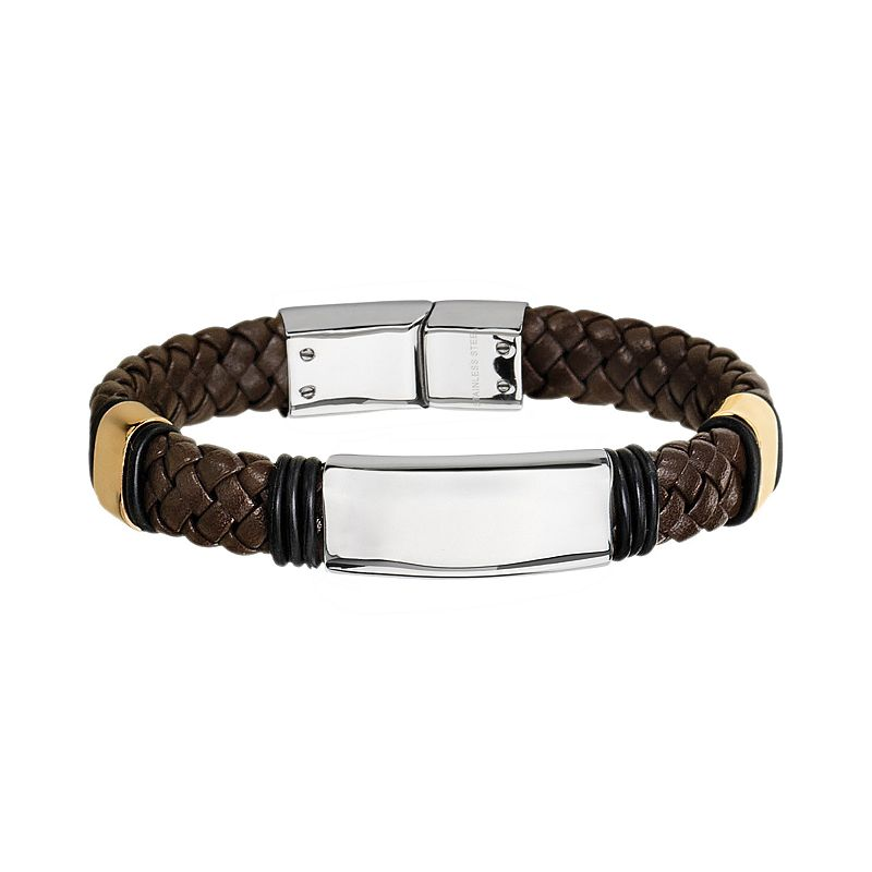 Two Tone Stainless Steel Leather Braided Bracelet - Men