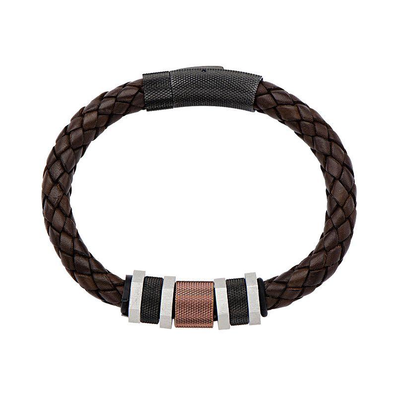 Tri Tone Stainless Steel Leather Braided Bracelet - Men