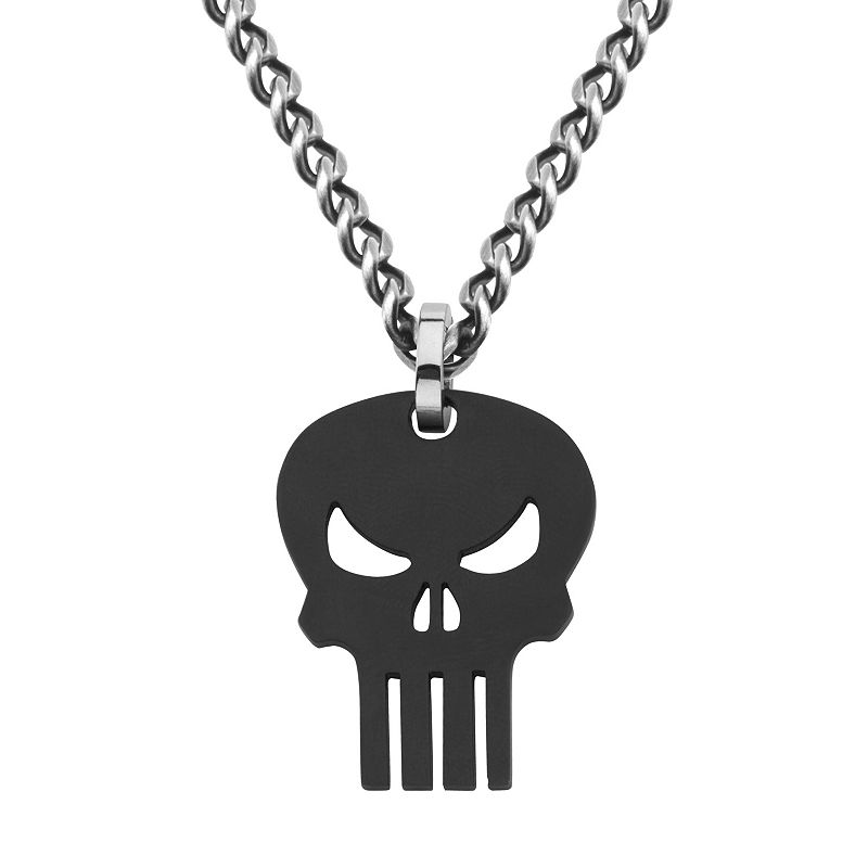 The Punisher Black Ion-Plated Stainless Steel Pendant Necklace - Men