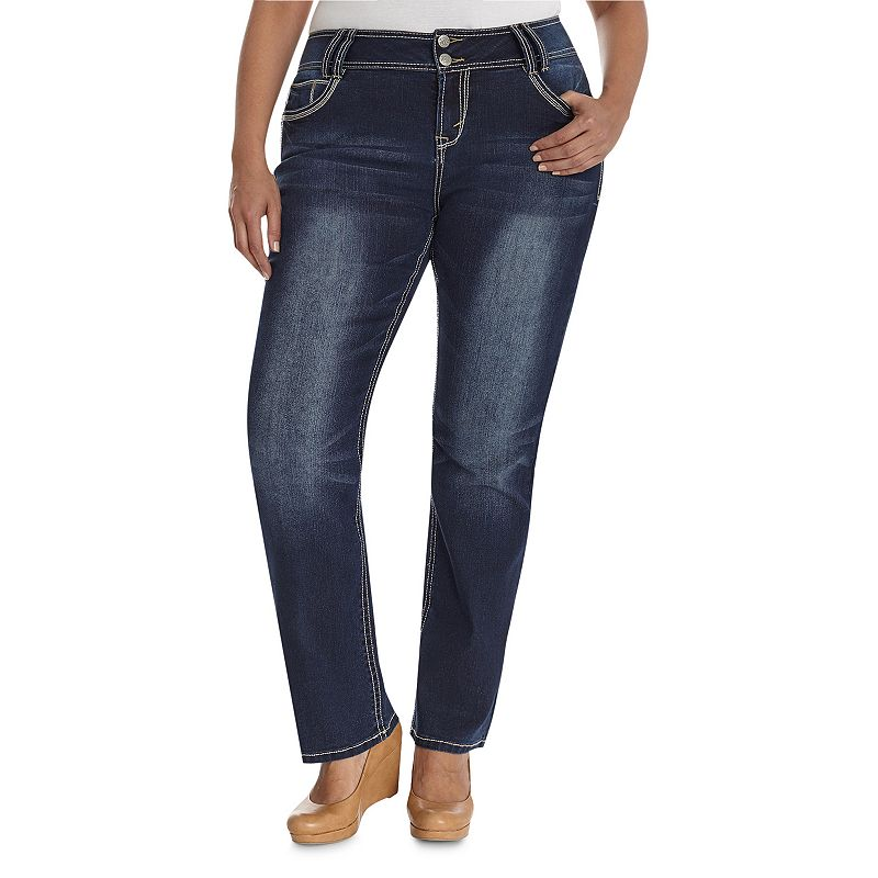 Juniors' Plus Size Wallflower Luscious Curvy Faded Bootcut Jeans