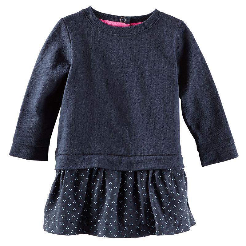 Baby Girl OshKosh B'gosh® Mock-layer Geo Woven Knit Dress
