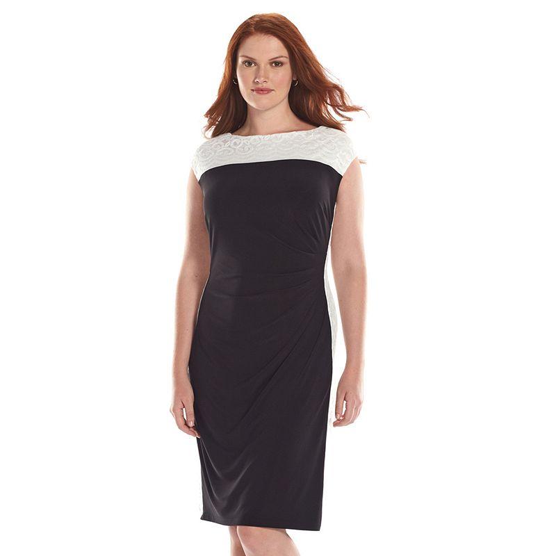 Plus Size Chaps Colorblock Lace Sheath Dress
