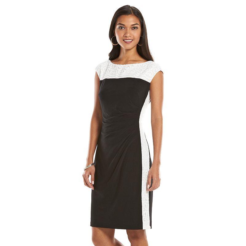 Petite Chaps Colorblock Lace Sheath Dress