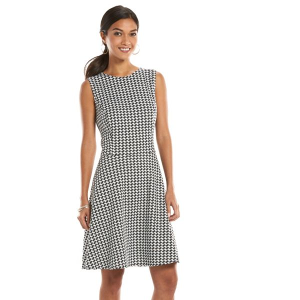 Petite Chaps Houndstooth Fit & Flare Dress