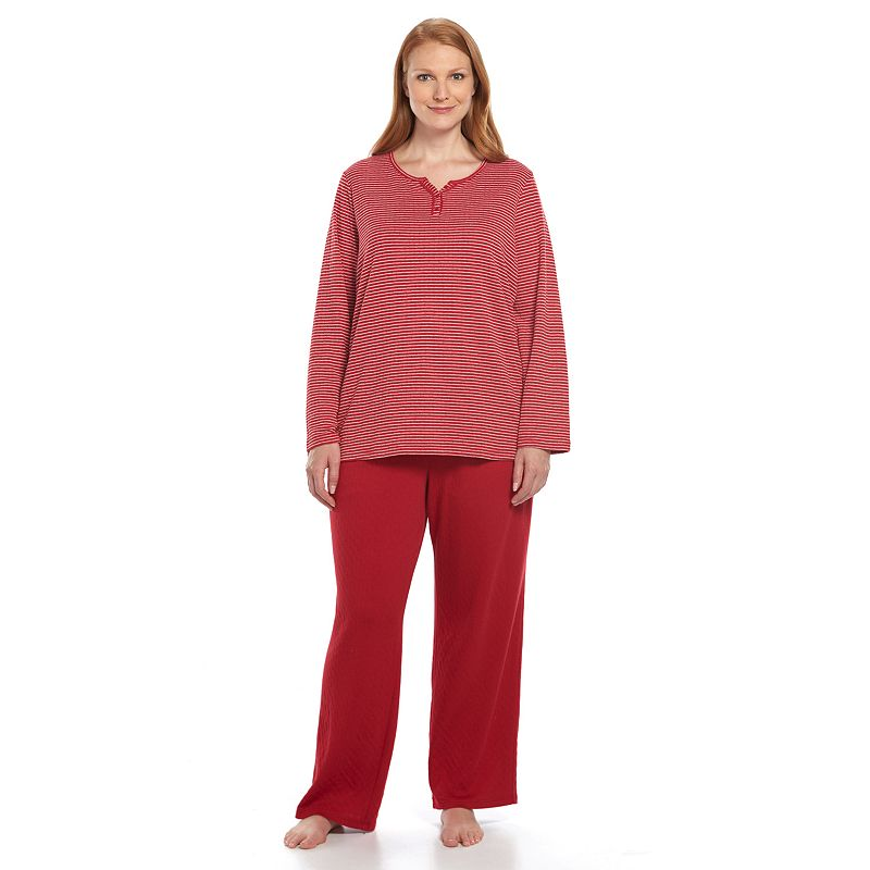 Plus Size Croft & Barrow® Pajamas: Textured Knit Top & Pants Pajama Set