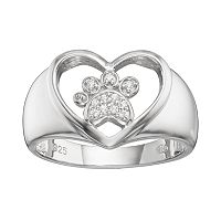 HSUS Cubic Zirconia Sterling Silver Paw Print & Heart Ring