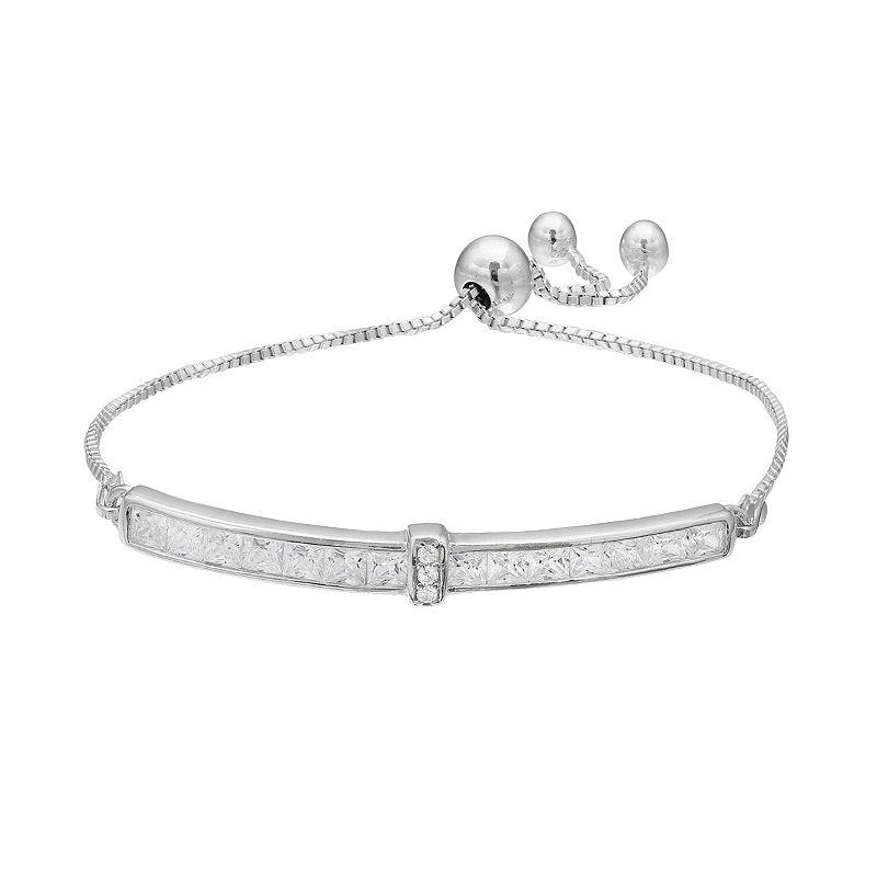 Sterling Silver Cubic Zirconia Bar Lariat Bracelet