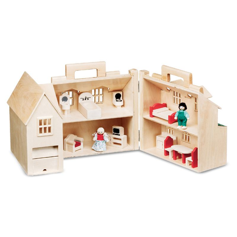 Melissa & Doug Fold & Go Dollhouse, Multicolor