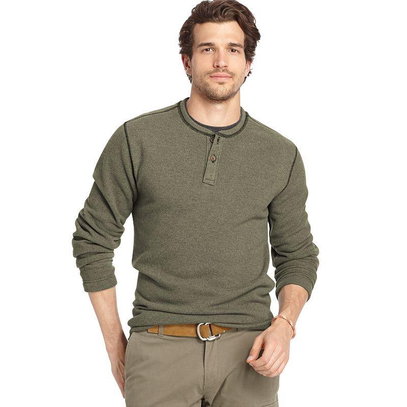 Big & Tall Arrow Solid Henley Sweater Fleece