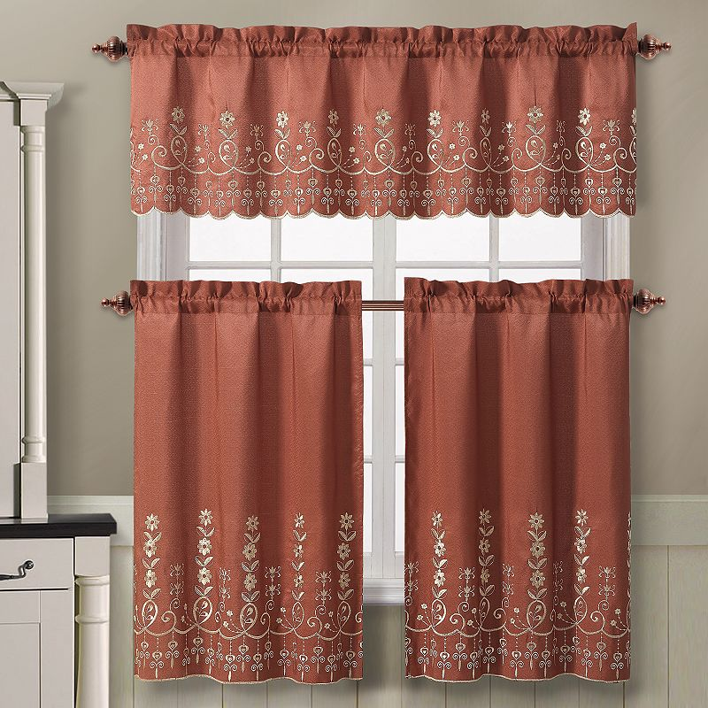 Brown Scalloped Window Treatment