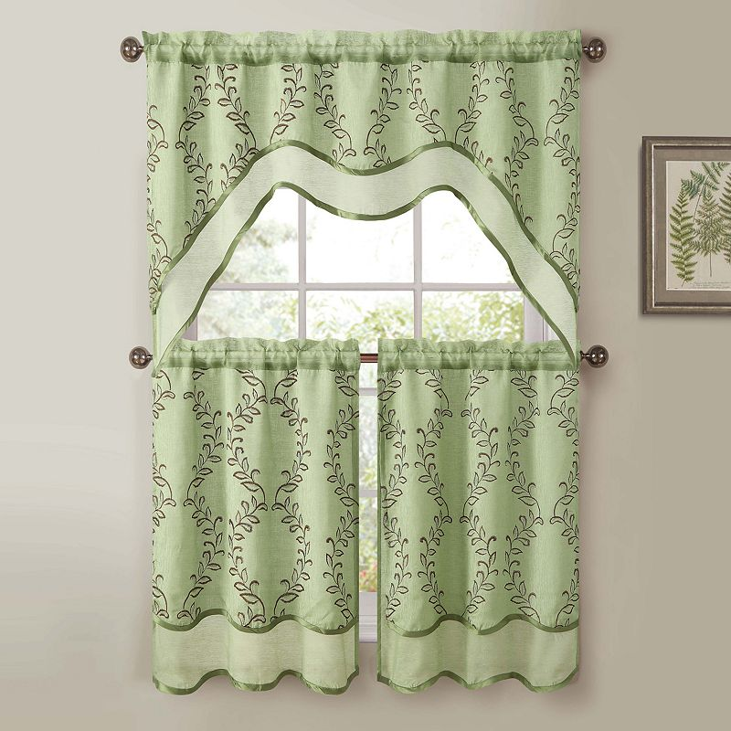 Victoria Classics Everwood 3 Pc Swag Tier Kitchen Curtain Set