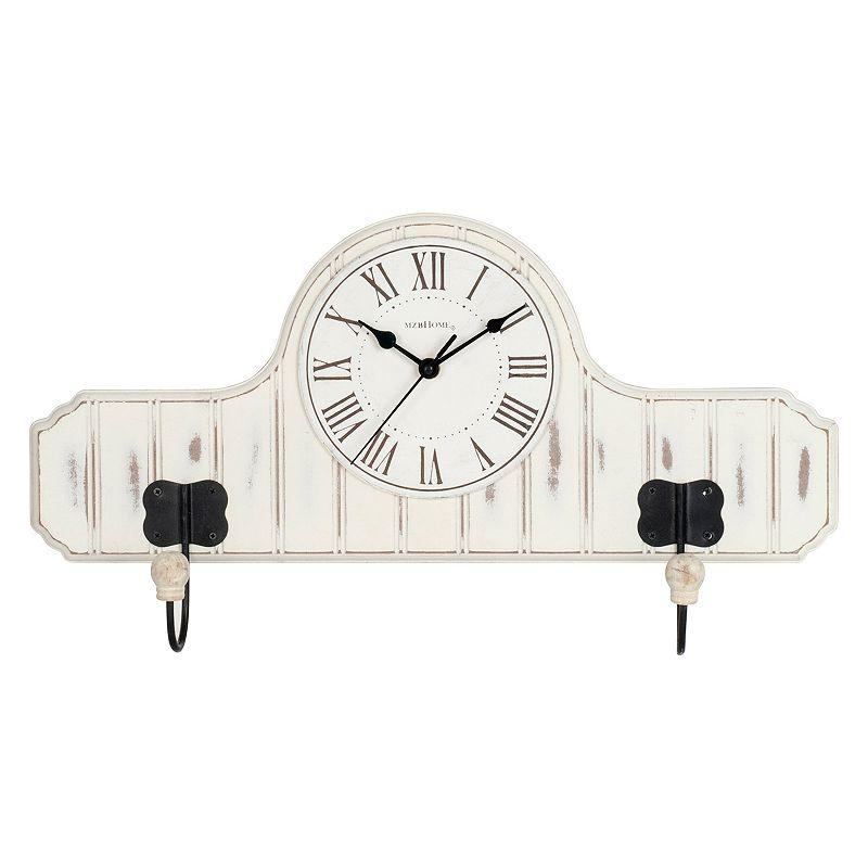 Beaded Board Wall Clock Coat Rack