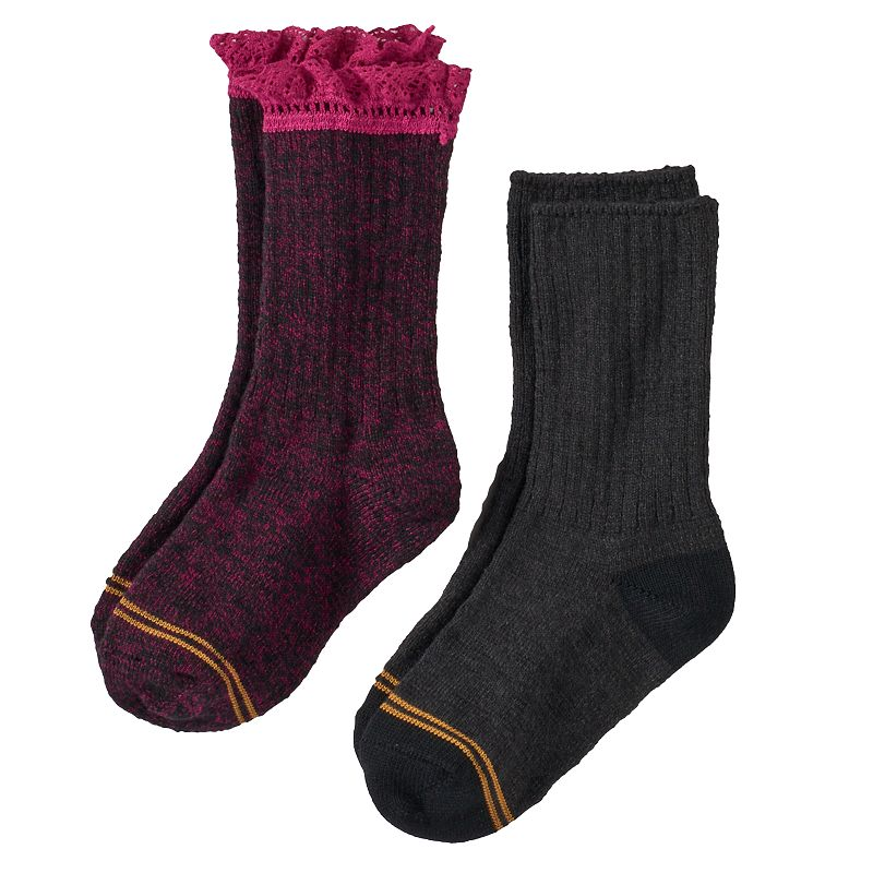 GOLDTOE 2-pk. Lace-Trim Boot Socks - Girls