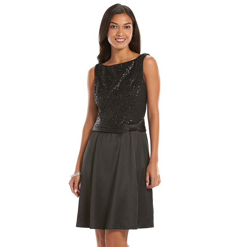 Chaps Sequin Mixed-Media Fit & Flare Dress - Women's