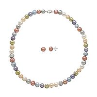 Freshwater by HONORA Dyed Freshwater Cultured Pearl Sterling Silver Necklace & Stud Earring Set