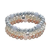 Freshwater by HONORA Dyed Freshwater Cultured Pearl & Quartz Stretch Bracelet Set
