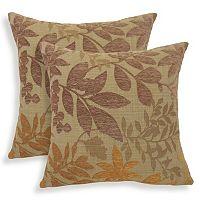 Bristol 2-piece Chenille Jacquard Leaf Throw Pillow Set