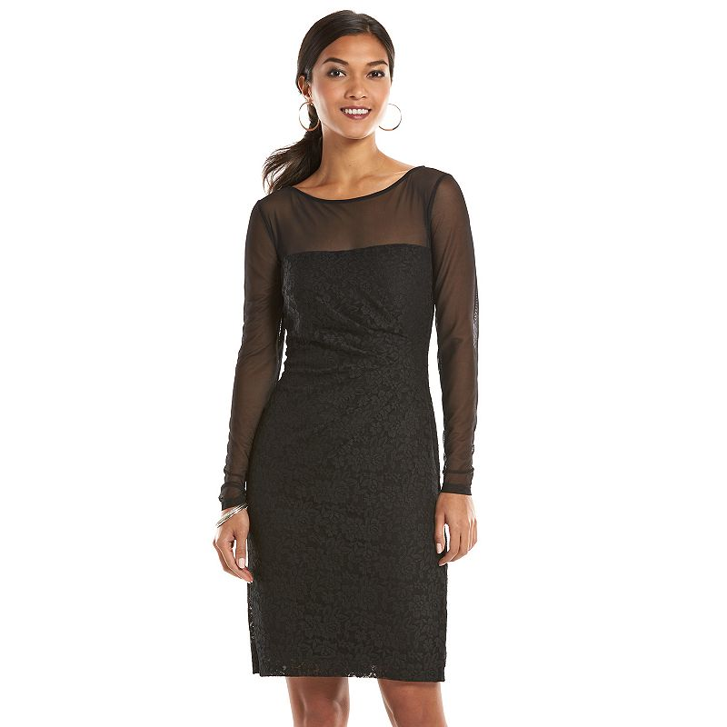 Chaps Lace Mixed-Media Sheath Dress