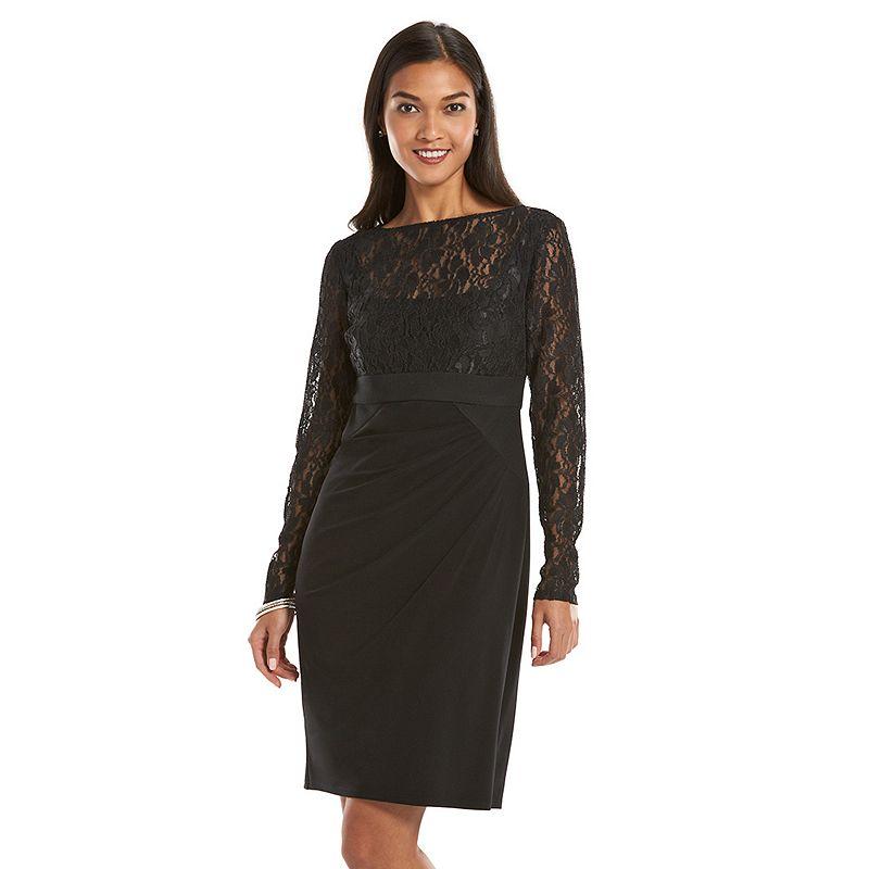 Chaps Mixed-Media Lace Sheath Dress